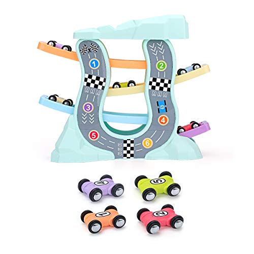QUN FENG Toys for 3 Year Old - Ramp Racer Car Toys for 3 Year Old Boy and Girl Race Track Car Ramp Racer with 4 Mini Cars Perfect for Developing Childrens Intelligence