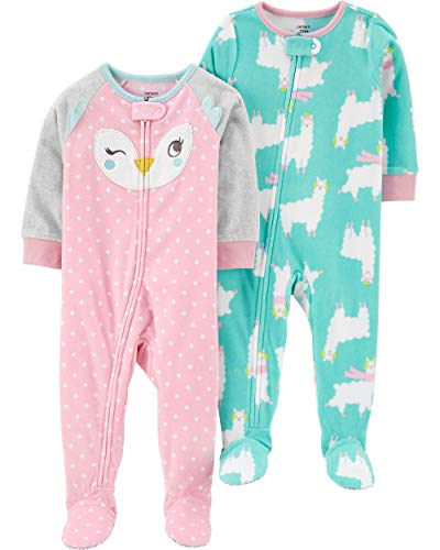 Carter's Baby Girls 2-Pack Loose Fit Fleece Footed Pajamas, Pink Face/Llama, 24 Months