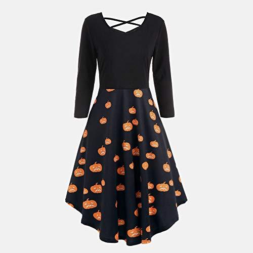 Bat Creuses Party Longues Dcontractes Imprimer Manches Flare Femme Bringbring Robe Halloween Orange1 Robes YgpwSZ