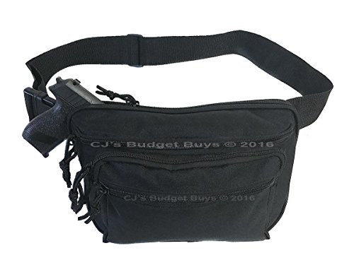 Mens Black Gun Pistol Pouch Carry Concealment Concealed Large Tactical Fanny Pack with Key Ring Carabiner