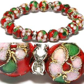 Swarovski Cord Bracelet (Red Green & Light Pink Crystal Cloisonne Stretch Bracelet - One Size Fits)