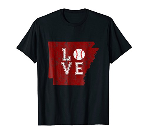 Retro Arkansas Love T-Shirt for Baseball Lovers and Players (Pink Player State Series)