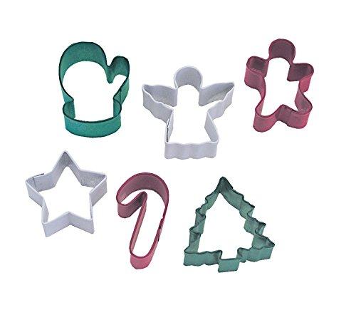 R&M International 1811 Mini Christmas Cookie Cutters, Candy Cane, Angel, Mitten, Folk Boy, Tree, Star, 6-Piece Set