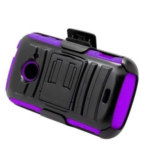 brid Case Phone Cover Accessory for Net10 ZTE Z667G Whirl 2 II (Black-Purple) ()