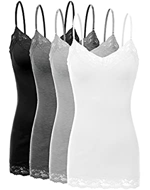 2 or 4 Pack Women's Junior and Plus Adjustable Spaghetti Strap Lace Tank Top