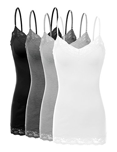 Bozzolo XT1004L Pack Ladies Adjustable Spaghetti Strap Lace Trim Cami Tank Top 4Pack-BLK CHC HE Grey WHT 3X