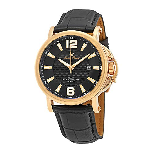 Lucien Piccard Men's 'Triomf' Quartz Stainless Steel and Black Leather Casual Watch (Model: LP-40018-RG-01)