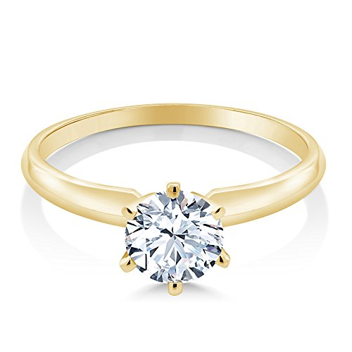 1.20 Ct Hearts And Arrows White Created Sapphire 14K Yellow Gold Engagement Solitaire Ring (Available in size 5, 6, 7, 8, 9)