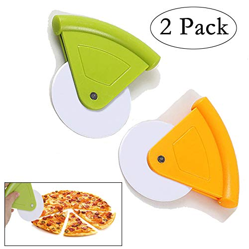 Pizza Plastic Cutters - Neepanda Plastic Pizza Cutter Wheel Pizza Rocker Cutter Pizza Wheel Slicer Tools for Pizza, Pie, Bread, Vegetables Dishwasher Safety (2 Pack, Yellow & Green)