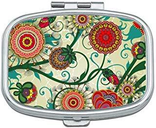Beautiful Floral Vintage Custom Rectangle Silver Pill Box Pocket Medicine Tablet Holder Organizer Pill Decorator Case Purse