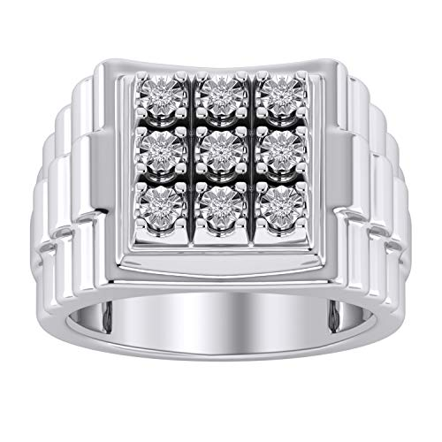 (Trillion Jewels Rolex Style Mens Ring in 14K White Gold Finish 0.23 CT Round Cut Diamond (12))