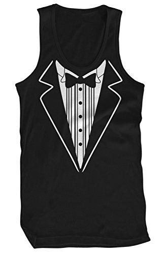 Amdesco Men's Tuxedo Tux Tank Top, Black 2XL (Tuxedo Ruffled Top)