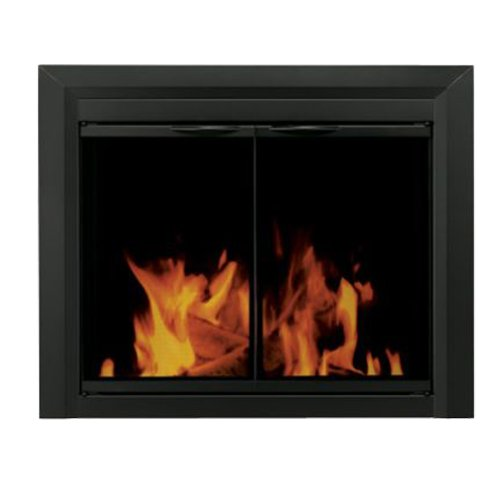- Pleasant Hearth CL-3000 Carlisle Fireplace Glass Door, Black, Small