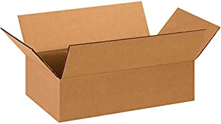 "product image for Partners Brand P1484100PK Flat Corrugated Boxes, 14"" L x 8"" W x 4"" H, Kraft (Pack of 100)"