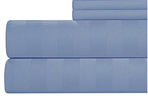 CANNON 4 Piece 100% Cotton 300 Thread Count Damask Flexi Fit Soft Sheet Set (Blue, King) (Sheets Cannon)