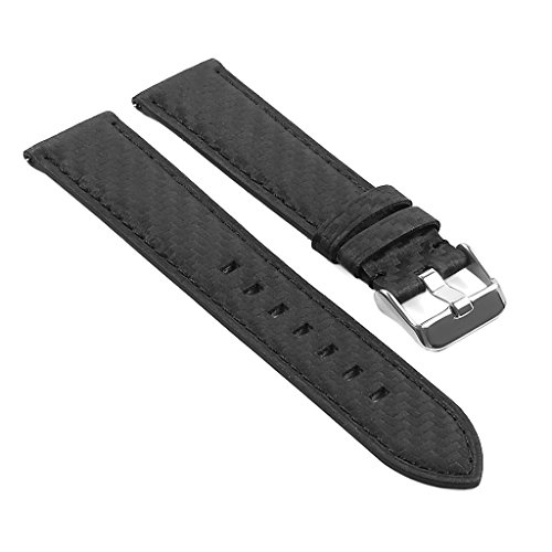 e Carbon Fiber Finish Leather Watch Strap Band 20mm 22mm ()