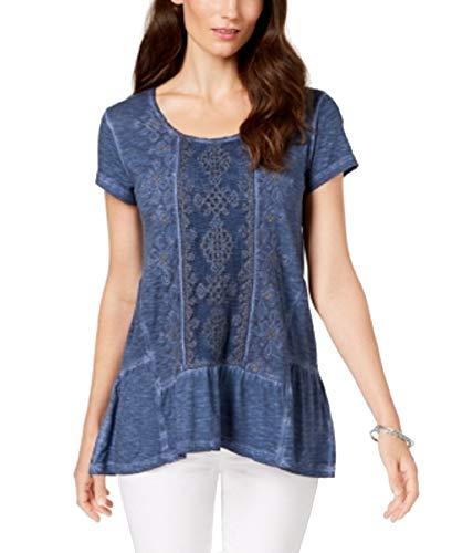 Style & Co. Embellished Scoop-Neck Top (New Uniform Blue, ()
