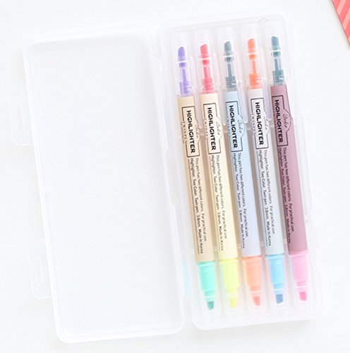 (LIVEWORK 10 Colors Twin Pen Set - Dual Colors 5 Pen Set in Case (10 Colors Highlighter Set))