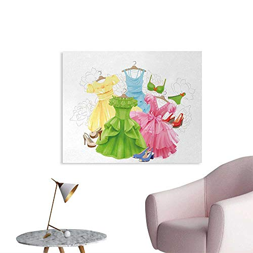Tudouhoho Heels and Dresses Space Poster Princess Outfits Bikini Shoes Wardrobe Party Costumes in Girls Design Mural Decoration Multicolor W32 xL24 -