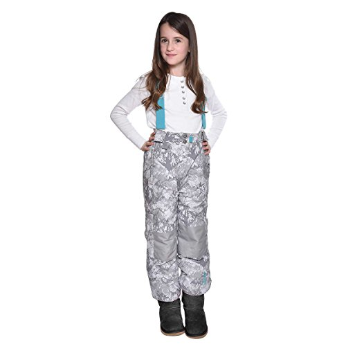 Weatherproof 32 Degrees Girl's Winter Snow Bib Pant (Small/7-8, White Mountain)