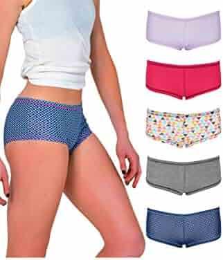 168e79bb7c4 Emprella Women's Boyshort Panties Comfort Pack Ultra-Soft Cotton Underwear