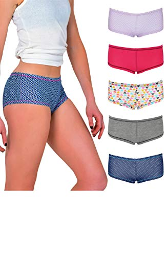 Emprella Women's Boyshort Panties (10-Pack) Comfort Ultra-Soft Cotton Underwear (Medium, 5-Pack Assorted) ()