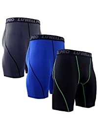 LUWELL PRO Men's 3 Pack Compression Shorts Baselayer Cool Dry Sports Tights Athletic Undershorts for Running,Workout,Training