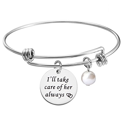 KUIYAI I Will Take Care of Her Always Expandable Bracelet Bangle Gift for Mother in Law (MIL Bracelet 2)