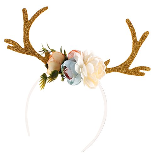 Dovewill New Hot Deer Antlers Head hoop Adult Kid Christmas DIY Headband of 4 Colors - Khaki, as described (Costumes Deer Antlers)