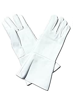 Leather Gauntlet Gloves White Small Long Arm Cuff