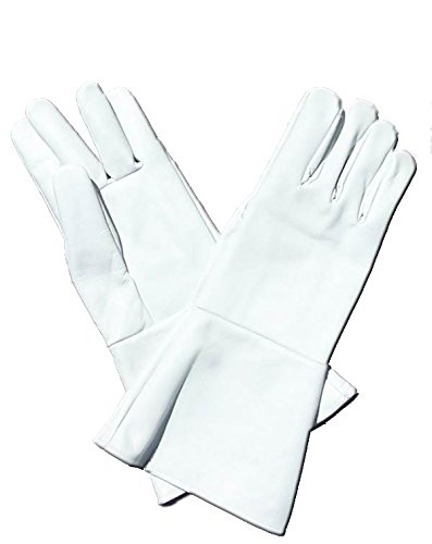 Leather Gauntlet Gloves White Medium Long Arm Cuff (Steampunk Superheroes)