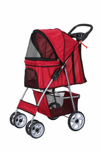 Confidence Deluxe Folding Four Wheel Pet Stroller Red