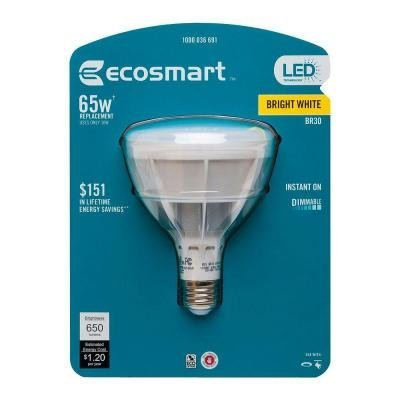 EcoSmart 65W Equivalent Bright White (3000K) BR30 Dimmable LED Light Bulb
