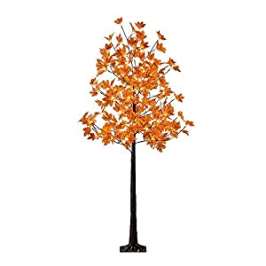 LIGHTSHARE LED Lighted Maple Tree – Dotted with 120 Warm White LED Lights, 5.5 ft, Orange