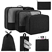 Packing Cubes for Suitcases 7 Set, Luggage Packing Organizers with Shoe Bag and Toiletry Bag (Black)