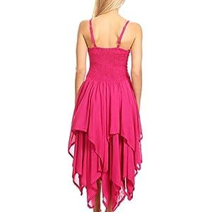 Sakkas 9031 Corset Style Bodice Jaquard Lightweight Handkerchief Hem Dress - Pink - OS