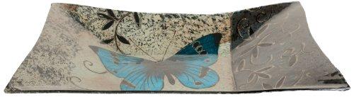 (AngelStar 19052 Handmade and Hand-Painted Glass Blue Butterfly Rectangular Plate, 16-Inch)