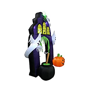 9 Foot Tall Halloween Inflatable Castle Archway with Pumpkins and Ghosts LED Lights Decor Outdoor Indoor Holiday Decorations, Blow up Lighted Yard Decor, Lawn Inflatables Home Family Outside