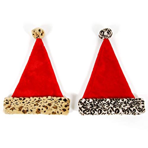 Homeford Plush Cuffed Animal Printed Christmas Santa Hat, 17-Inch, 2-Piece