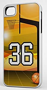 Basketball Sports Fan Player Number 36 White Rubber Hybrid Tough Case Decorative iphone 6 plus Case