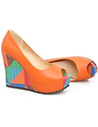 Women's Retro Peep Toe Contrast Color Slip On Pumps High...