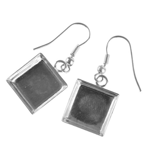 Bezel Square Earrings - 9