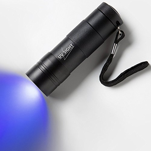 UV Sight's Handheld Blacklight Stain & Urine Detector Torch. The Best Ultra Violet Flashlight to Find Stains on Carpet, Rugs or Furniture Material. 3 x AAA Batteries Included & Inserted
