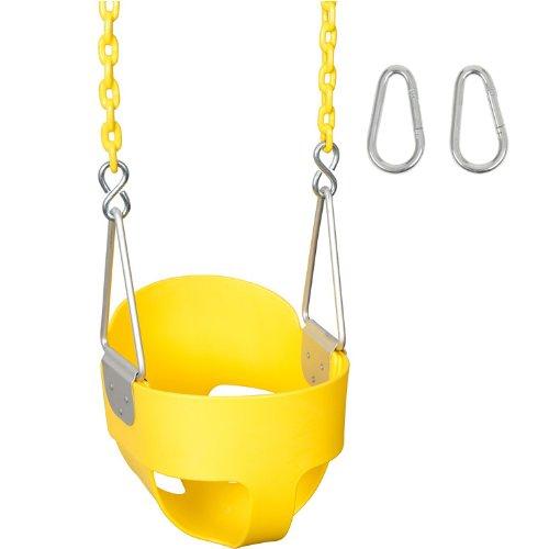 (Swing Set Stuff Highback Full Bucket with 5.5' Coated Chain & SSS Logo Sticker, Yellow)