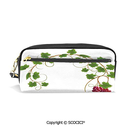 Girls Boys 3D Printed PU Pencil Case Holders Bag with Zipper Curved Ivy Branch Deciduous Woody Wines Seed Clusters Cabernet Kitchen Stationery Makeup Cosmetic Bags Back to School