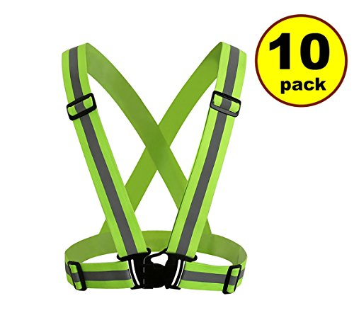New JJMG Man/Woman High Adjustable Safety Security Visibility Reflective Neon Yellow Vest Gear Stripes Belt Jacket - Jogging, Running,Cycling (10 Pack)