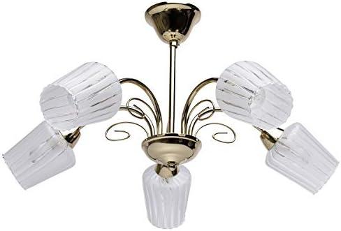 DeMarkt 356017705 Lámpara de Techo, Elegante, Moderna, Elegante, Dorada, Plafones de Vidrio Mate, Para Cocina, Dormitorio, Techo Bajo, 5 x 60W E14