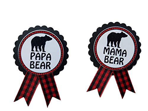 - Mama Bear & Papa Bear Baby Shower Pins Daddy to Be Pin Buffalo Plaid Gender Reveal, Red & Black Pin, Baby Sprinkle
