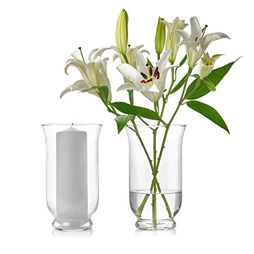 Set of 2 Glass Hurricane Vases 10 Inch Tall x 6 Inch Opening - Multi-use: Pillar Candle Holder, Flower Vase - Perfect as a Wedding Centerpieces, Home Decoration (Extra Large Hurricane Vase)