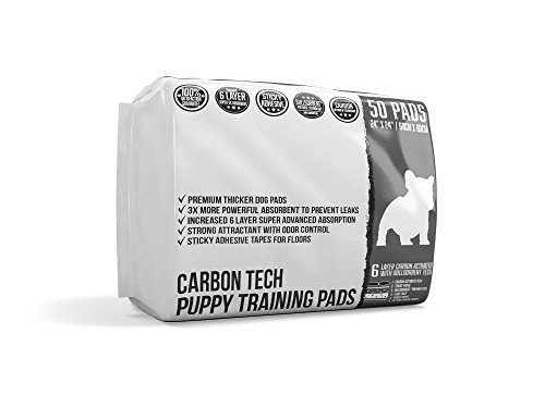 Bulldogology Carbon Black Puppy Pee Pads with Adhesive Sticky Tape - Large Dog Training Wee Pads - (24x24, 50-Count) (Gridlock Training Pads)